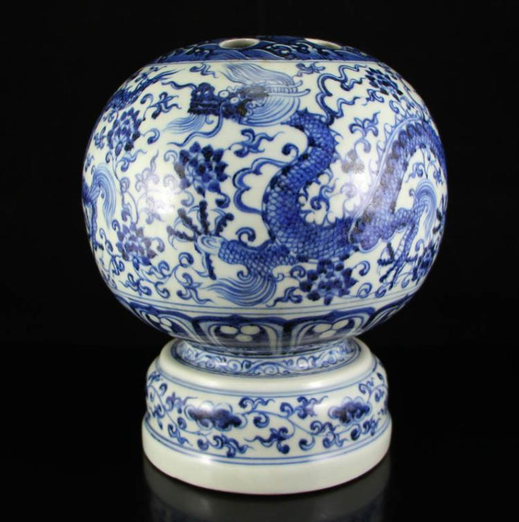 Chinese Ming Dynasty Blue And White Porcelain Incense Burner