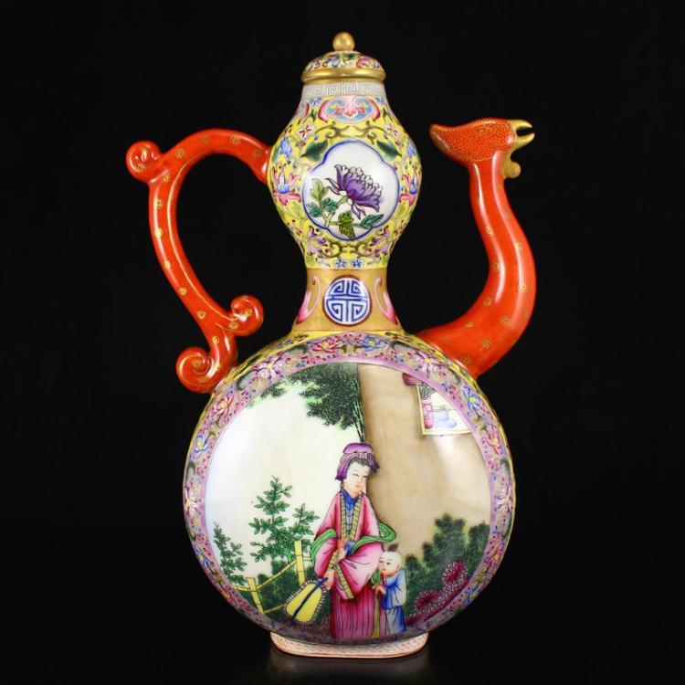 Chinese Gilt Gold Famille Rose Porcelain Teapot w Yong Zheng Mark