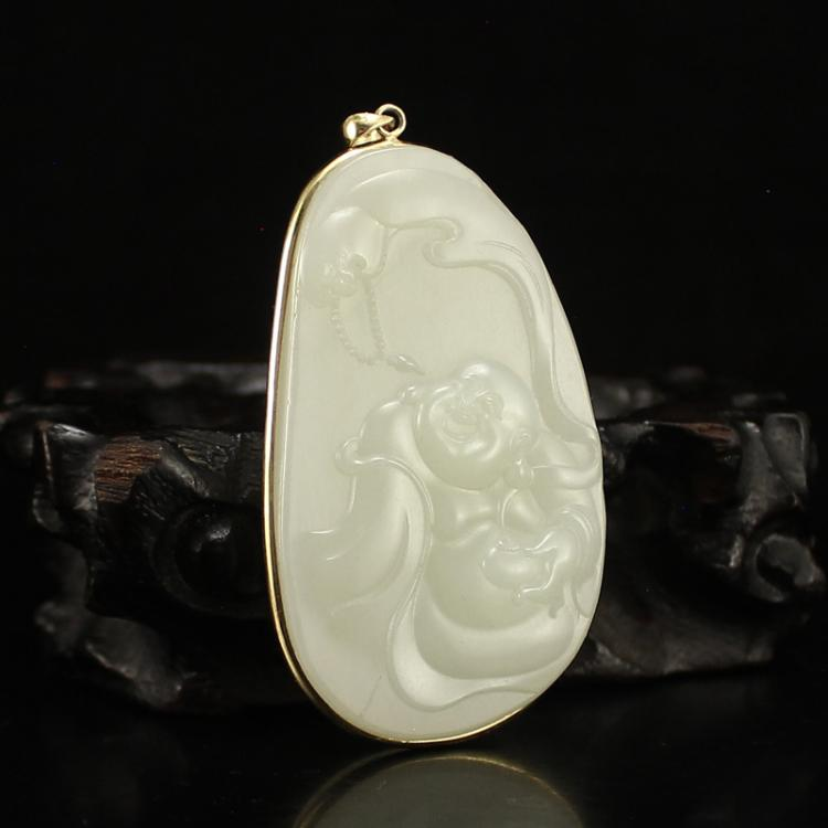 18K Gold Inlay Hetian Jade Laughing Buddha Pendant