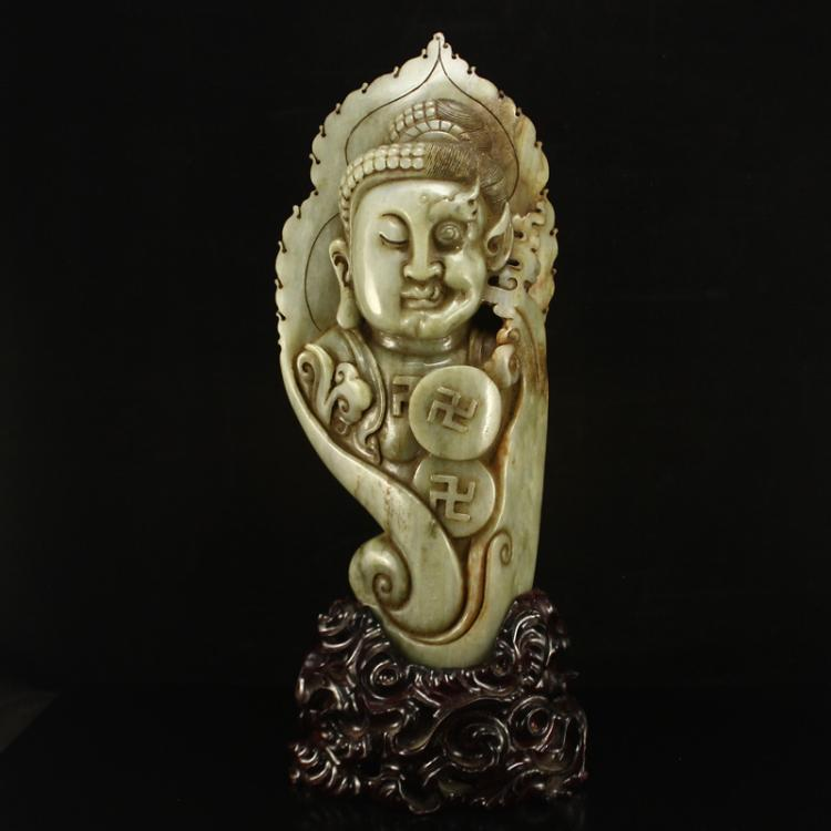 Vintage Chinese Qing Dynasty Hetian Jade Buddha Statue