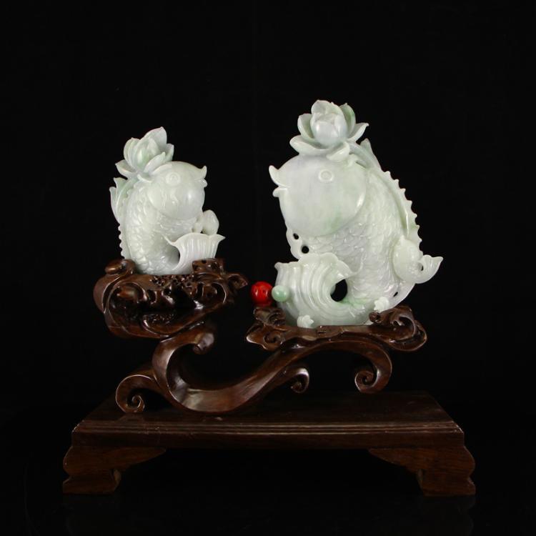 A Pair Jadeite / Jade Statue - Carp & Lotus