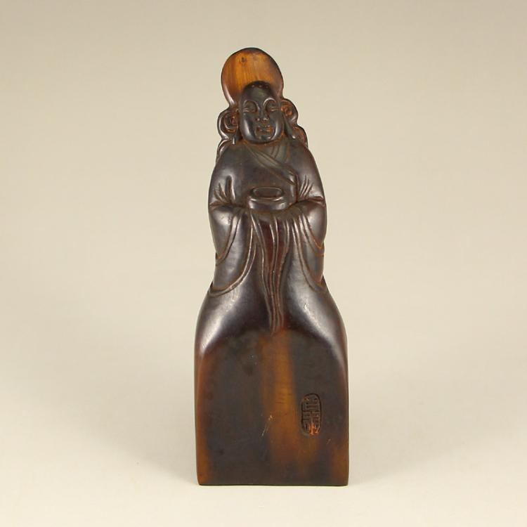Vintage Chinese Ox Horn Figure Seal