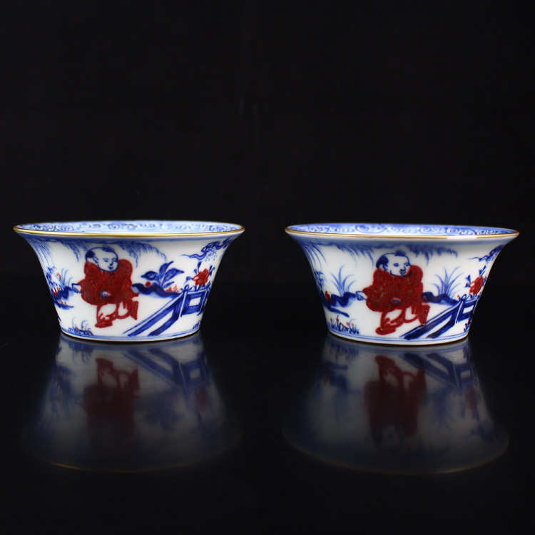 A Pair Chinese Gilt Edges Blue And White + Underglaze Red Porcelain Cups