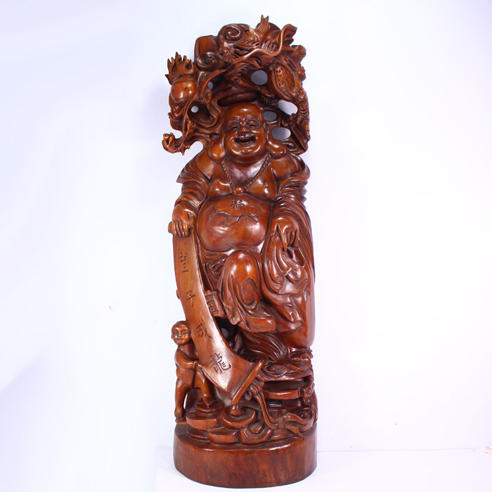 Superb Chinese Huali Wood Statue - Laughing Buddha & Fortune Kid