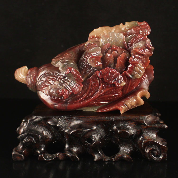 Chinese Natural Agate Fortune Cabbage Statue