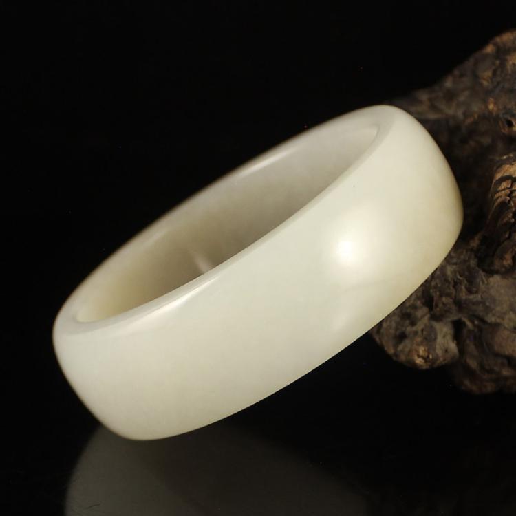 Inside Diameter 59 mm Chinese Hetian Jade Bracelet w Certificate