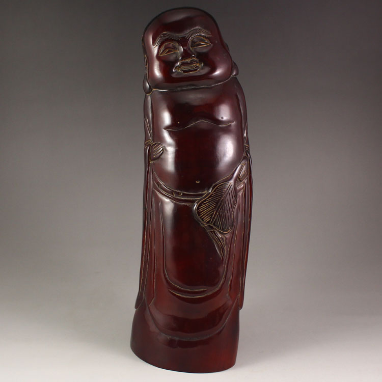 Vintage Chinese Ox Horn Laughing Buddha Statue