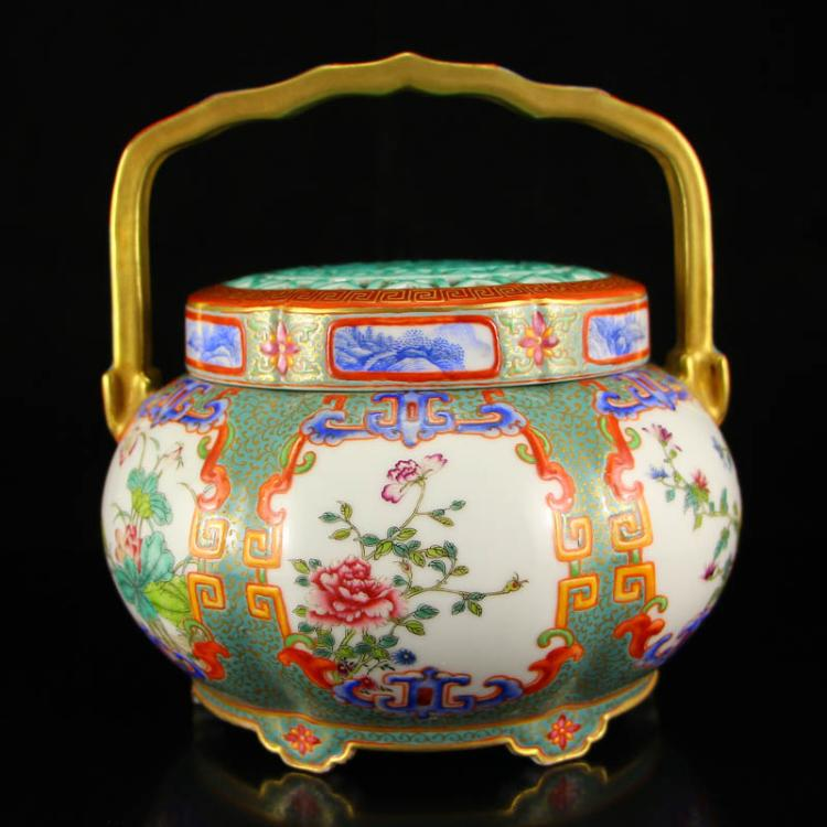 Superb Chinese Qing Dynasty Gilt Gold Famille Rose Porcelain Handle Handwarmer w Qian Long Mark
