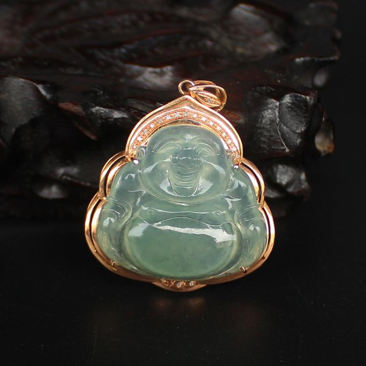 18K Gold Inlay Natural Jadeite Diamond Laughing Buddha Pendant w Certificate