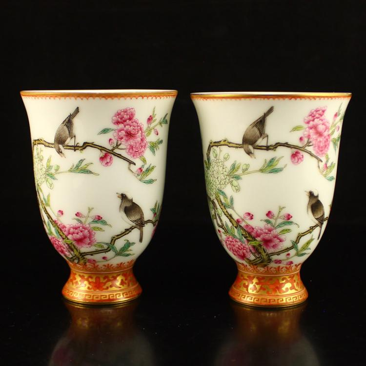 A Pair Superb Chinese Qing Dynasty Gilt Gold Famille Rose Porcelain Cup w Yong Zheng Mark