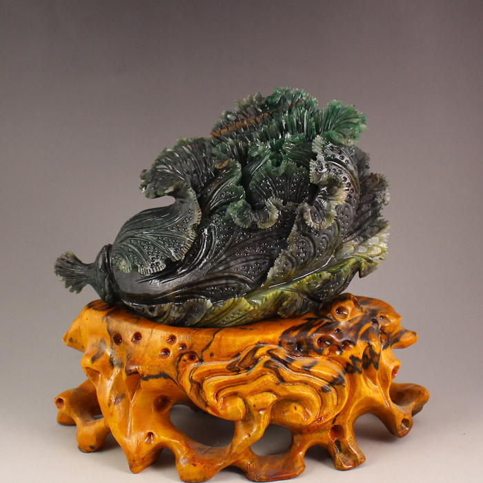 Superb Chinese Dushan Jade Statue - Fortune Cabbage