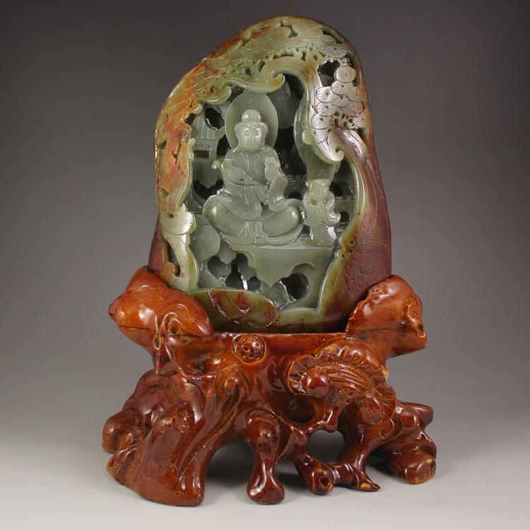 Chinese Natural Hetian Jade Kwan-yin Statue