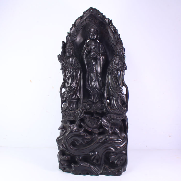 Chinese Black Sanders Wood Statue - Sam West Buddhism