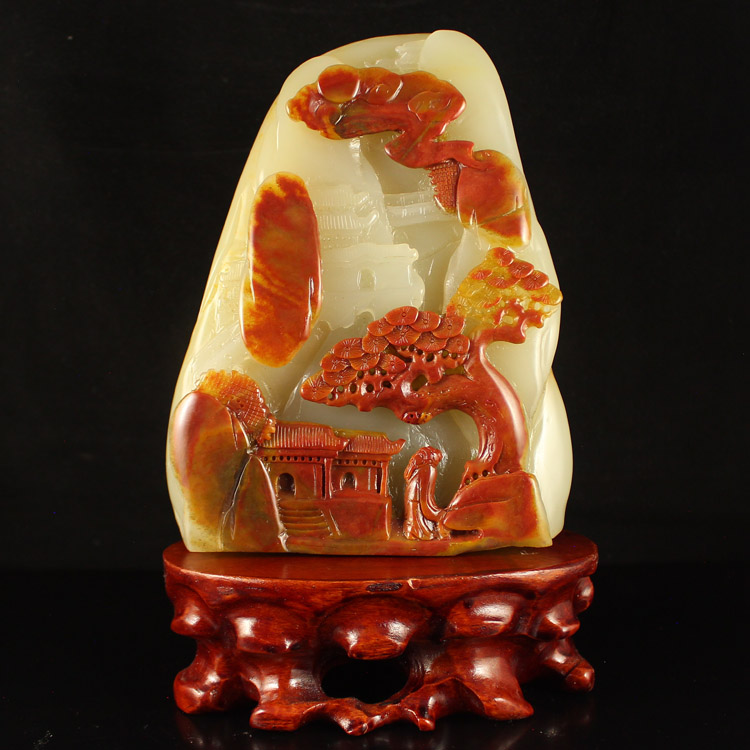 Chinese Huang Long Jade Statue - Poet & Pine Tree