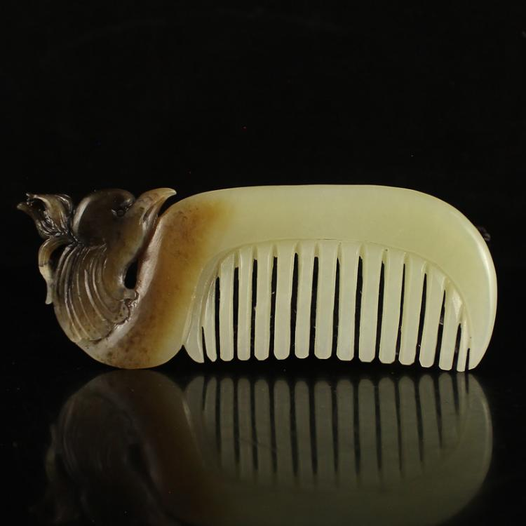 Chinese Natural Hetian Jade Phoenix Head Comb