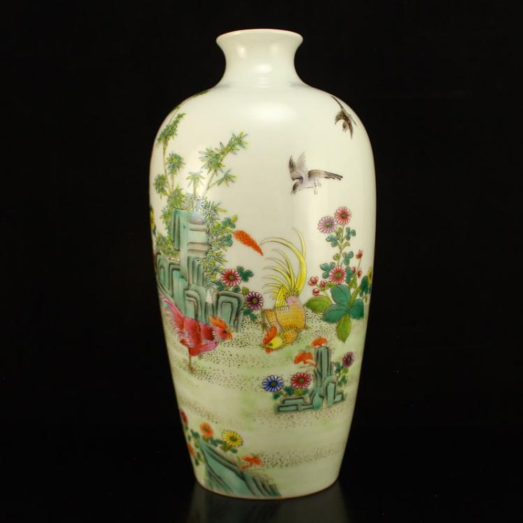 Chinese Gilt Gold Edges Famille Rose Porcelain Vase w Guang Xu Mark