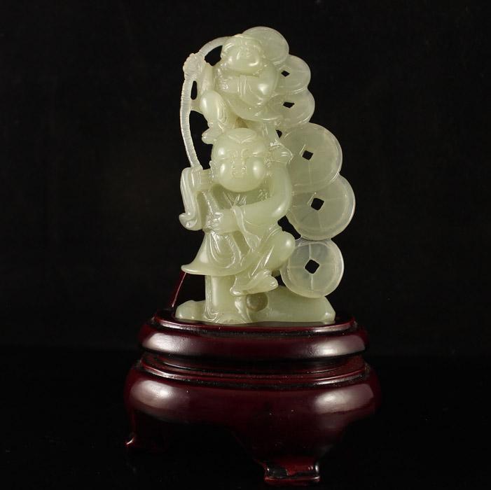 Chinese Hetian Jade Statue - Fortune Kids