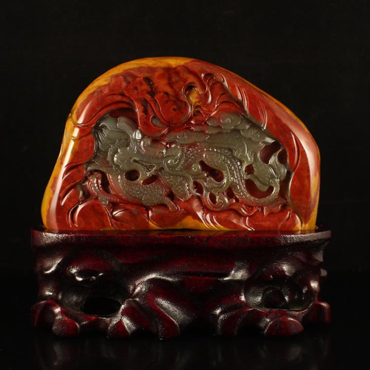 Chinese Huanglong Jade Fortune Dragon Statue