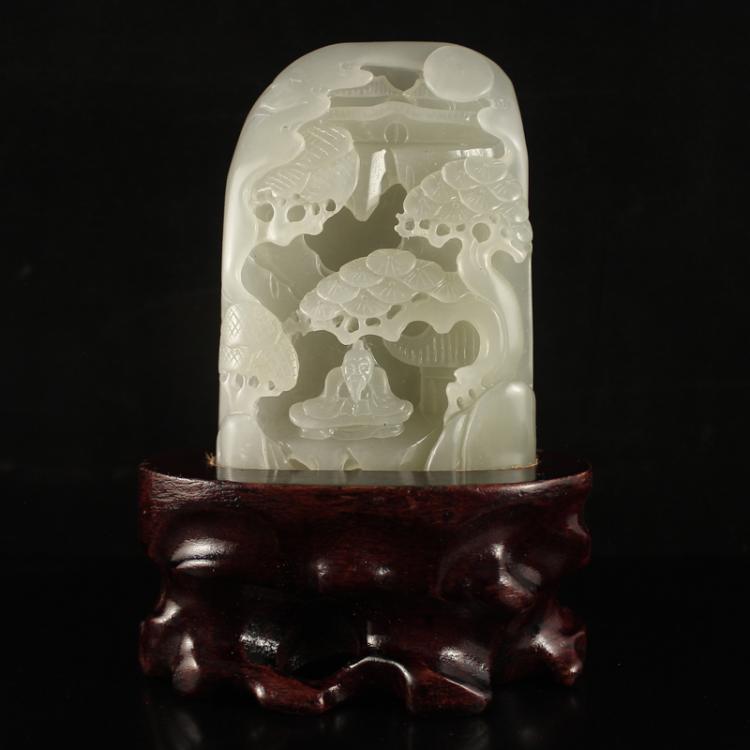 Chinese Hetian Jade Statue - Man & Pine Tree