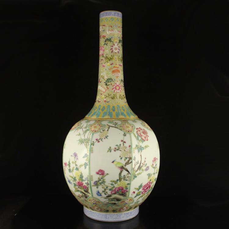 Superb Chinese Gilt Edges Famille Rose Porcelain Vase w Qianlong Mark