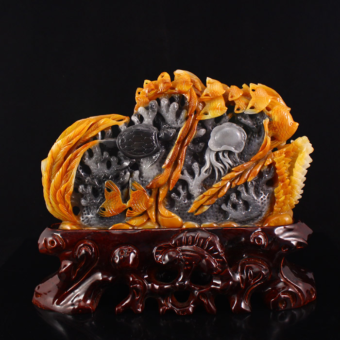 Superb Chinese Natural Jade Statue - Fish and Under Ocean World