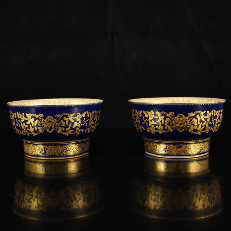 A Pair Chinese Qing Dynasty Gilt Gold Blue Ground Famille Rose Porcelain Tea Bowl w Yong Zheng Mark