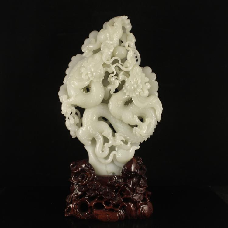 Superb Openwork Chinese White Hetian Jade Double Dragons & Ball Statue