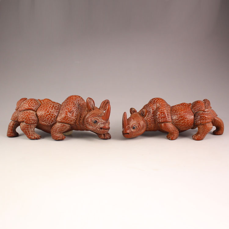 A Pair Chinese Boxwood Wood Statue - Rhinoceroses