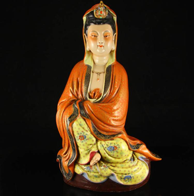 Chinese Qing Dynasty Gilt Gold Famille Rose Porcelain Kwan-yin Statue