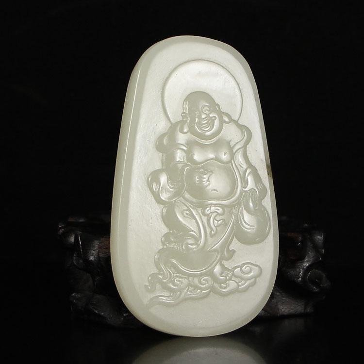 Chinese Hetian Jade Laughing Buddha Pendant