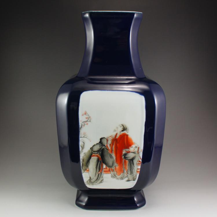 Chinese Famille Rose Porcelain Figure Poetic Prose Vase
