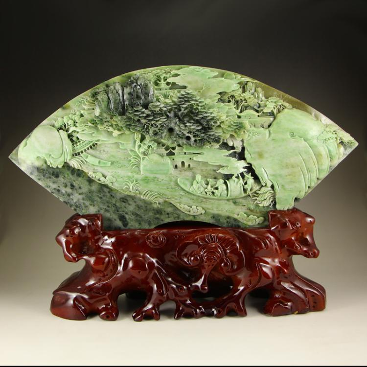 Superb Chinese Dushan Jade Statue - Remote Mountains Travel