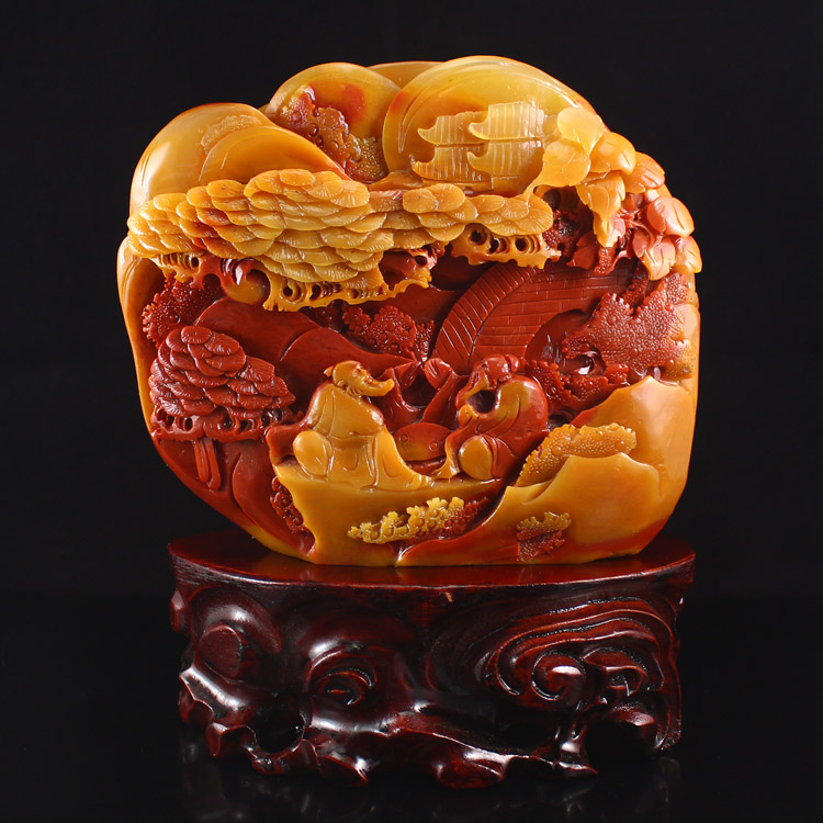 Superb Chinese Huang Long Jade Statue - Sages & Pine Tree