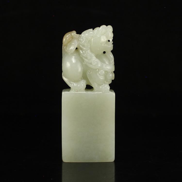 Chinese Natural Hetian Jade Fortune Pixiu Seal