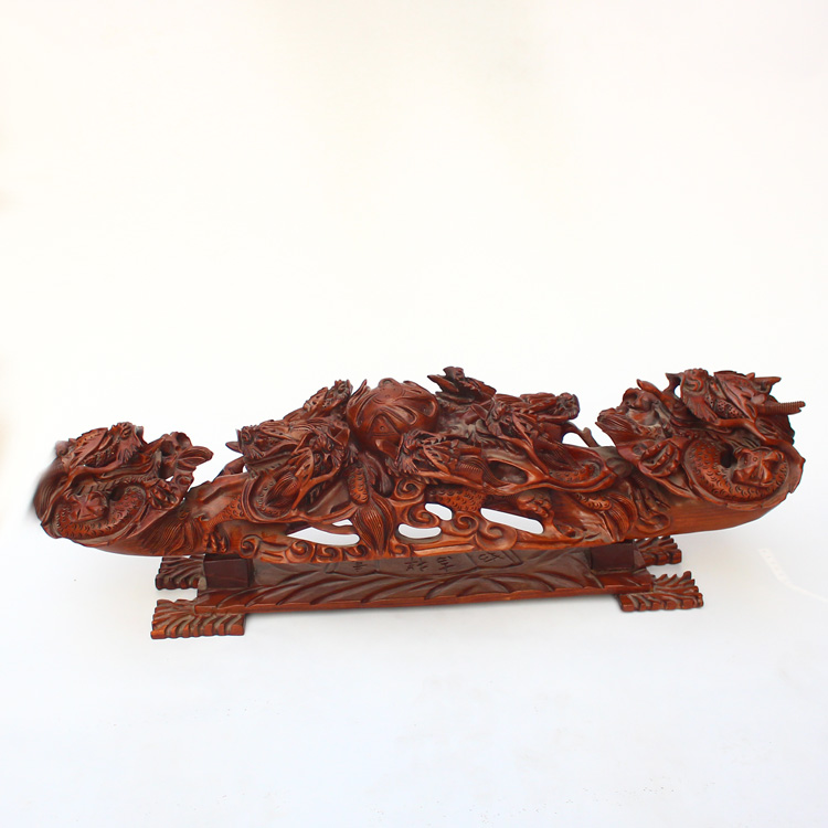 9 Kg Superb Chinese Verawood Wood Nine Dragons Big Ruyi Statue