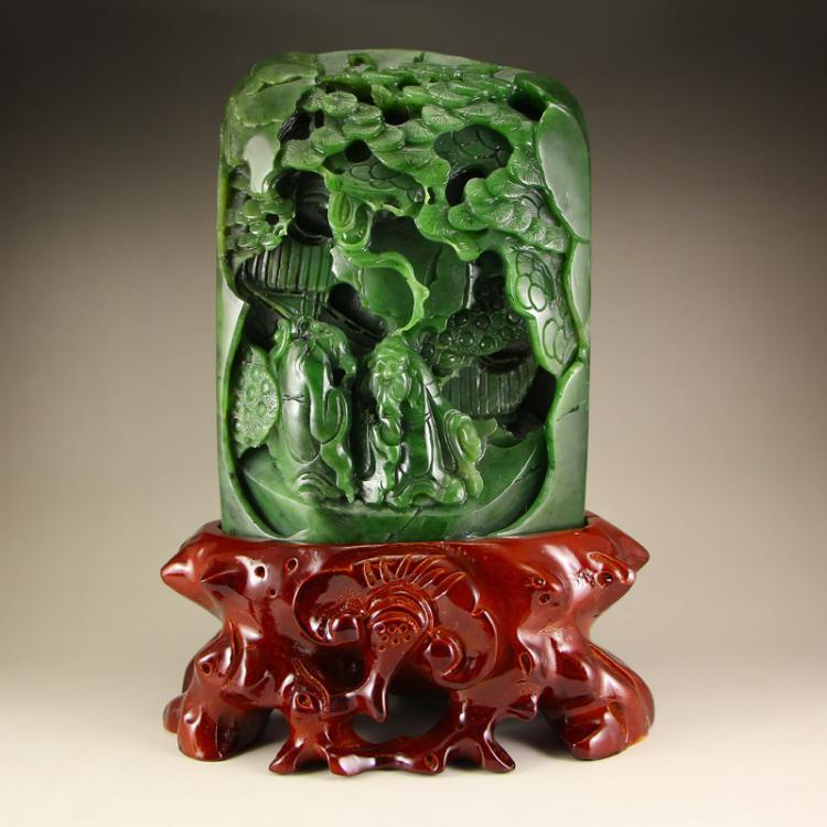 Chinese Green Hetian Jade Statue - Poet & Pine Tree