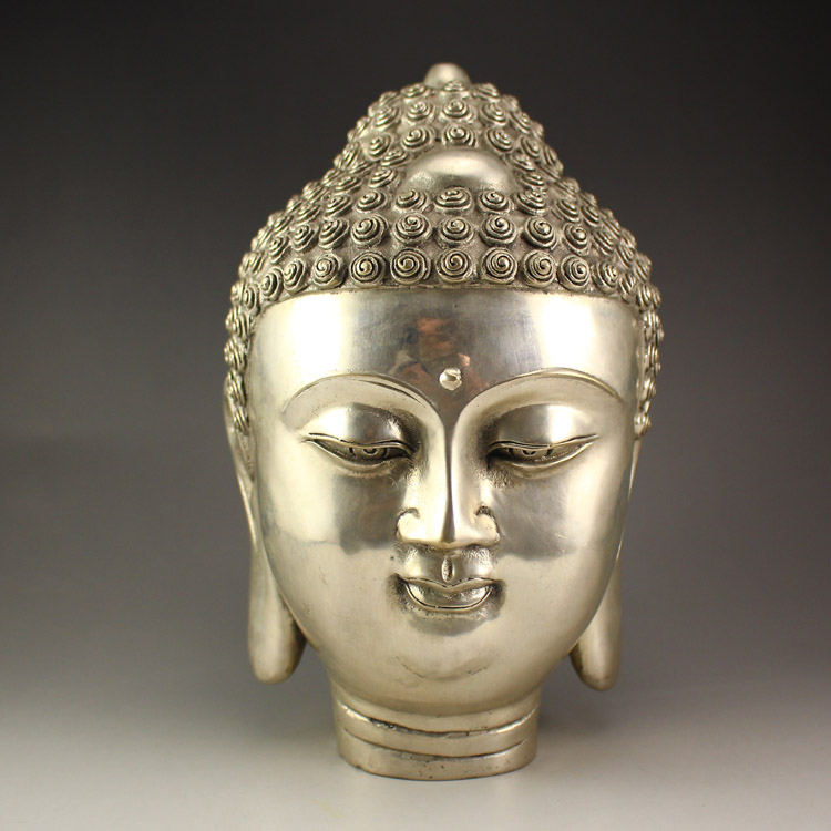 Chinese White Copper Buddha Head Statue