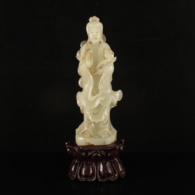 Chinese Qing Dynasty Hetian Jade Kwan-yin Statue