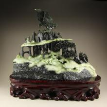Superb Chinese Dushan Jade Statue - Eagle & Mountain
