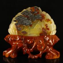 Chinese Huanglong Jade Statue - Sages & Pine Tree
