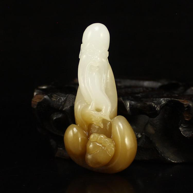 Chinese Natural Hetian Jade Long Life Old Man Pendant