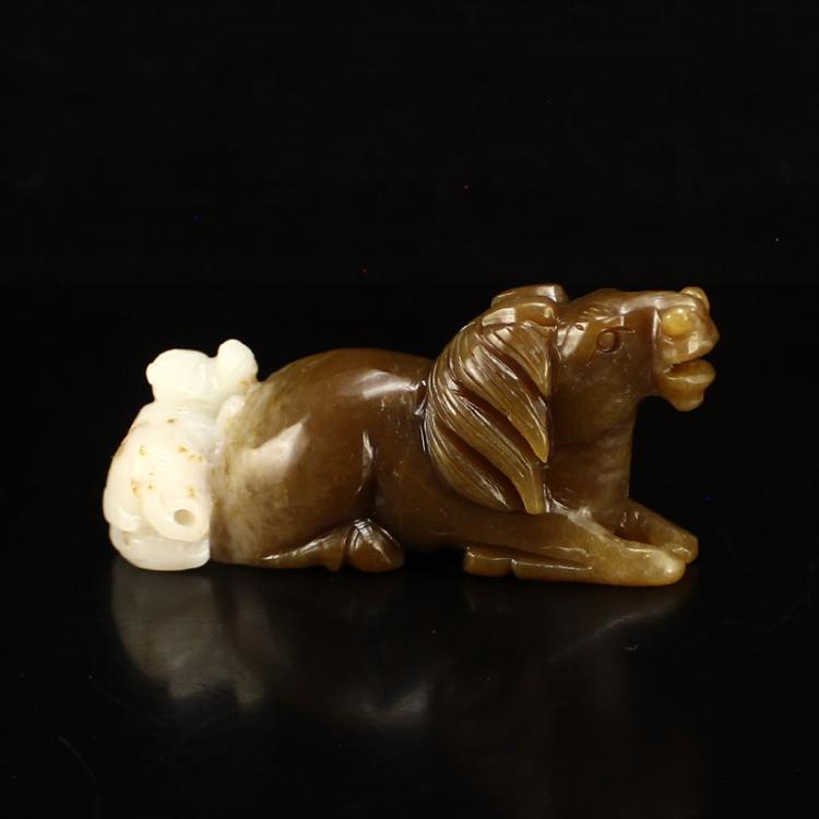 Chinese Hetian Jade Statue - Monkey & Horse