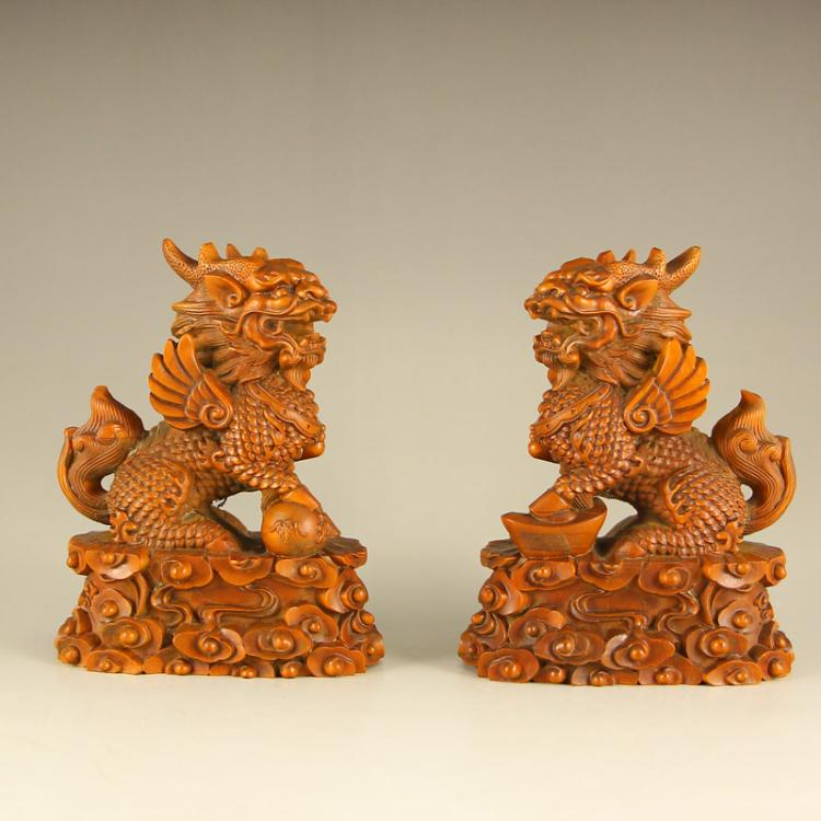 A Pair Superb Chinese Boxwood Wood Kylin Statue