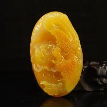 Chinese Huanglong Jade Pendant - Phoenix & Peony