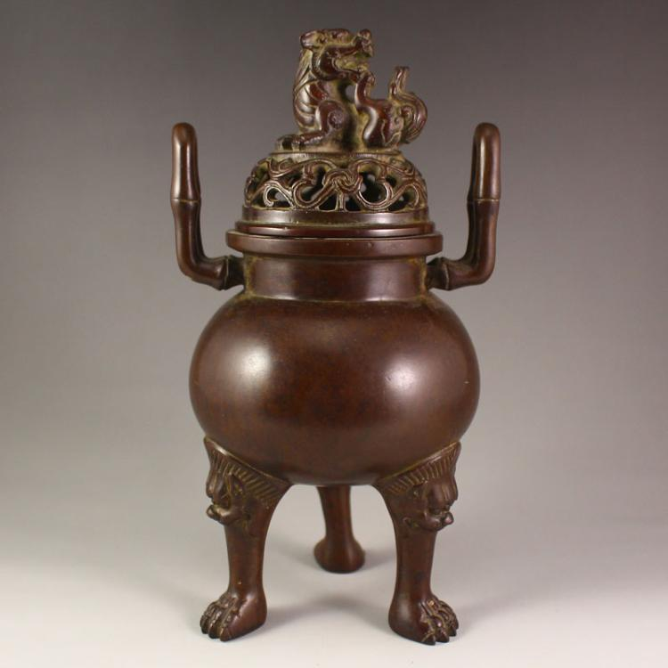 Chinese Red Copper Double Ears 3 Leg Incense Burner