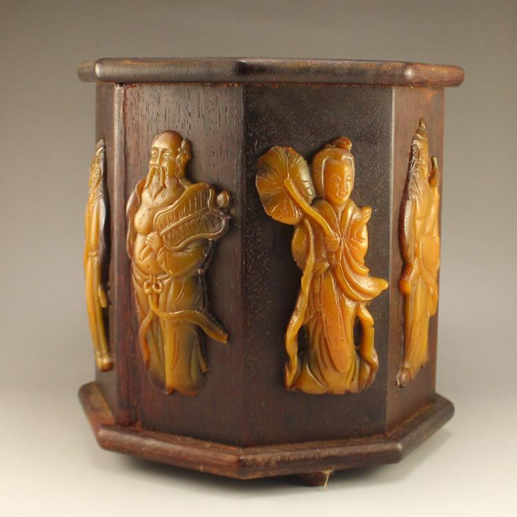 Vintage Chinese Hard Wood Inlay Natural Jade Brush Pot w Eight Taoism Immortal