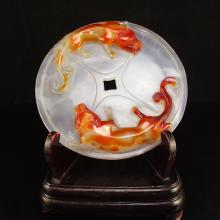 Beautiful Color Chinese Red Agate Fortune Chi Dragons Statue