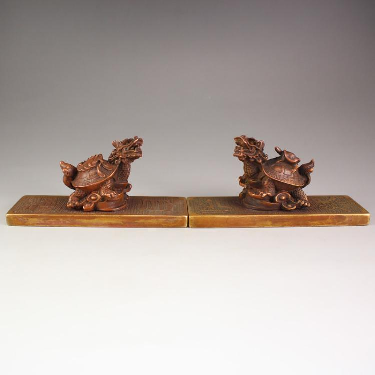 A Pair Chinese Bronze Dragon Turtle Paperweight