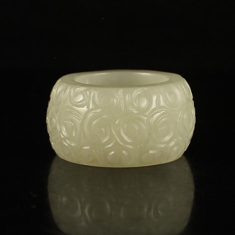 Chinese Natural Hetian Jade Thumb Ring