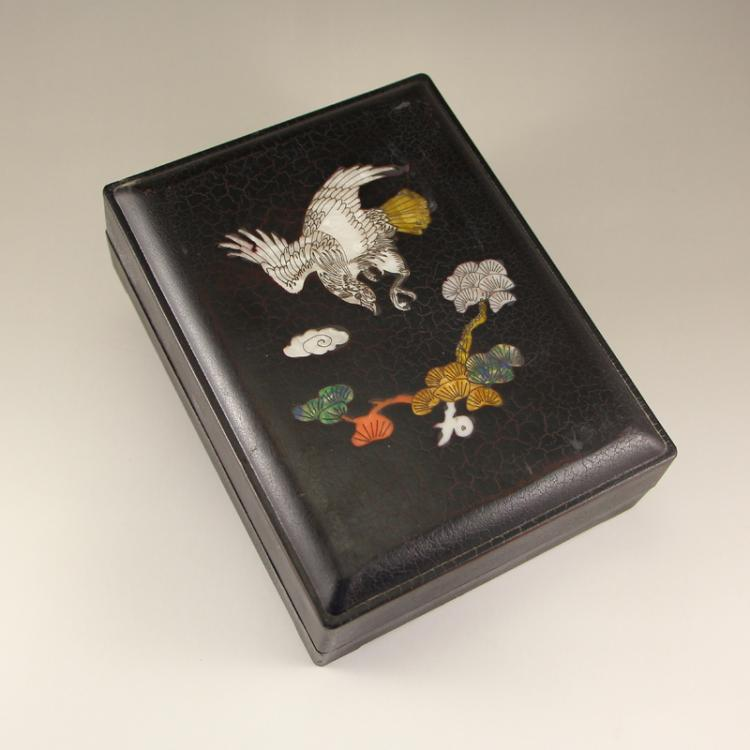 Chinese Duan Inkstone w Lacquerware Inlay Shell Box - Eagle & Pine Tree